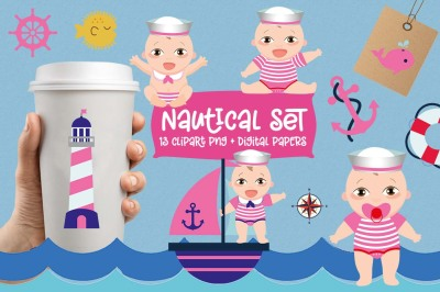 Girl Nautical Clipart Set, boats, whale, lighthouse, anchor,