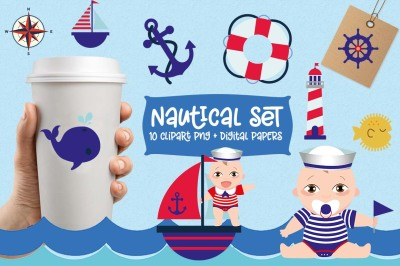 Boy Nautical Clipart Set, boats, whale, lighthouse,  Nautical S