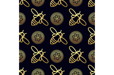 Seamless pattern with gold Bee