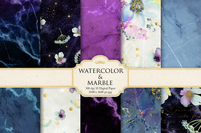 Waterolor Flowers and Marble Digital Paper