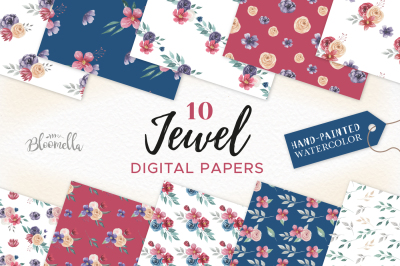 Jewel Patterns Watercolor Flower wedding Painted Navy Red Florals