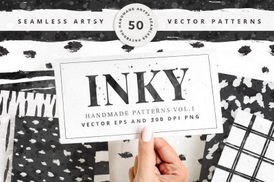 Inky - 50 Seamless Vector Patterns Vol.1 ( EPS + 300dpi PNG )