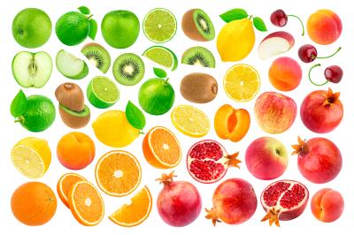 Set of various fruits isolated on white background