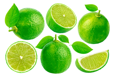 Lime isolated on white background with clipping path. Collection