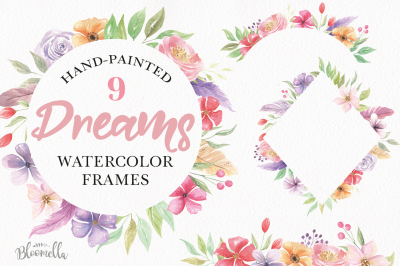 Dreams Frames Watercolor Clipart Border Flowers Feathers Pink Purple