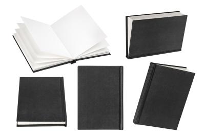 Empty black book isolated on white background with copy space