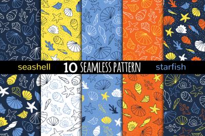 10 seamless patterns with seashells