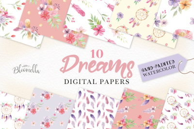 Dreamcatcher Patterns Digital Papers Floral Feathers Watercolor Flower