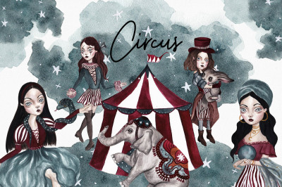Circus Halloween Watercolor Set