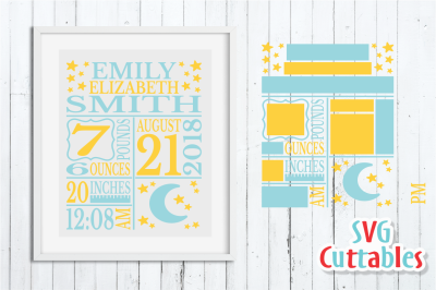 Baby Birth Announcement / Moon and Stars / SVG Cut File