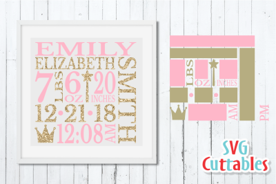 Baby Birth Announcement / Princess / SVG Cut File