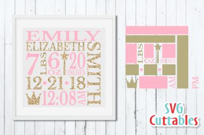 Baby Birth Announcement / Princess / SVG Cut File