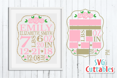 Baby Birth Announcement / Rose / SVG Cut File