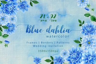 Blue dahlia great flowers PNG watercolor set