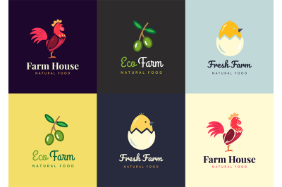Fresh farm logos set. Vector labels for business
