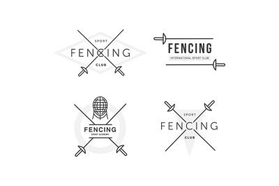 Set of Fencing sports vector logo or badge. Emblem elements.