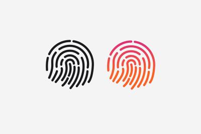 ID app icon. Vector set. Fingerprint for identification.
