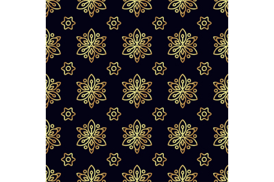 Gold flower seamless pattern.