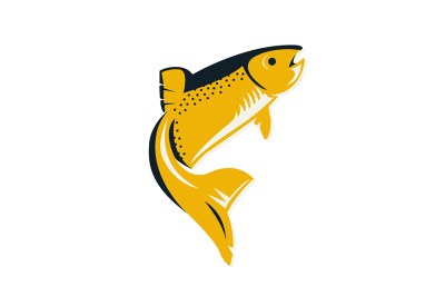 Reto style fish on the white background. Flat badge of of salmon.