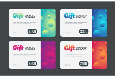 Gift voucher set. Modern template with futuristic pattern