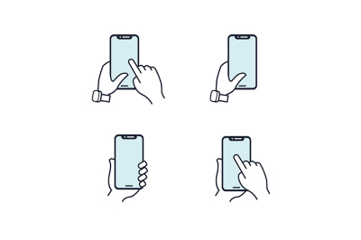 Hands holding smartphone. Flat line icon. Blue icon set