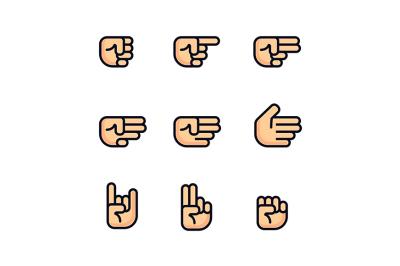 Cartoon hands set. Different gestures of fist.