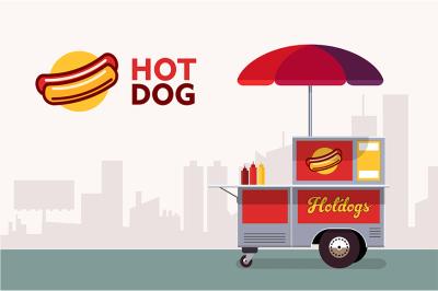 Hot dog street cart. Fast food stand vendor service.