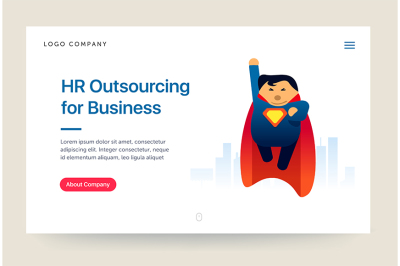 HR outsourcing company website template. Super hero illustration