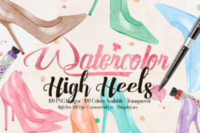 100 Hand Painted Watercolor Shiny High Heels Clip Arts