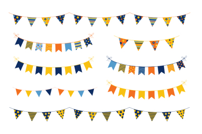 Birthday party bunting clipart, Colorful banner flags garland set