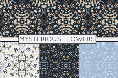 Mysterious Flowers - Dark Floral Patterns - Vector Patterns