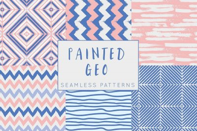 Painted Geo Seamless Patterns - Pink and Blue Seamless Patterns
