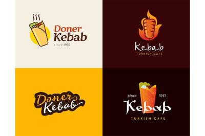 Set of doner kebab label templates.