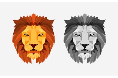 Lion head. Low poly design. Creative logo element