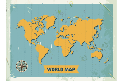 Grunge retro metal sign with world map. Vintage poster.