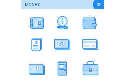 Flat line money icon set. Safe, card, cash, wallet.