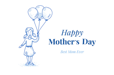 Happy mothers day. Daughter with balloons. Small girl. Hand drawn