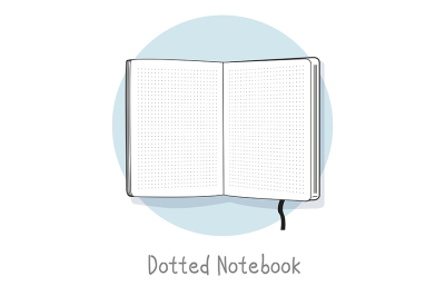 Dotted notebook illustration. Hand drawn style. Open sketchbook.