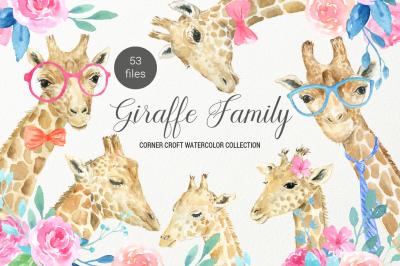 Giraffe clip art, watercolor giraffe family