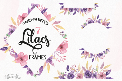 Lilacs Hand Painted Watercolor Floral Frames Pink Flowers Berries