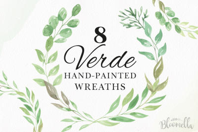 Verve Watercolor Greenery Wreath Leaves Leaf Foliage Clipart Garlands