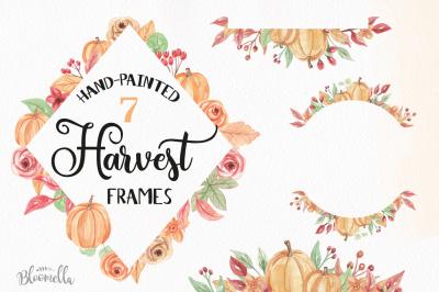 Watercolor Pumpkin Frames Clipart Harvest Autumn Fall Borders