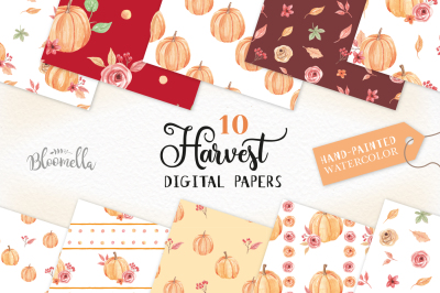 Pumpkin Seamless Harvest Patterns Digital Papers Autumn Fall Floral