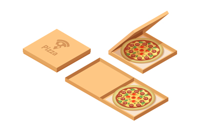 Pizza cardboard boxes set. Isometric view. Opened and closed package.