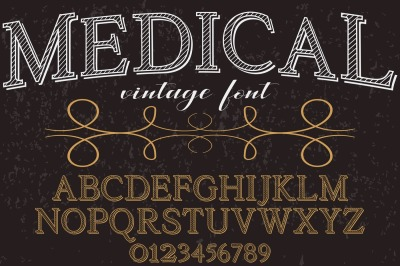 vintage alphabet Typeface handcrafted vector label design medical