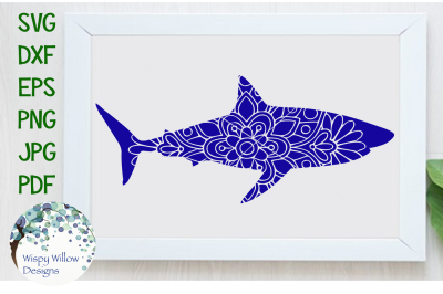 Shark Mandala Animal SVG/DXF/EPS/PNG/JPG/PDF