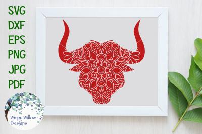 Bull Mandala Animal SVG/DXF/EPS/PNG/JPG/PDF