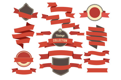 Coloring banners ribbons and badges set in modern flat style