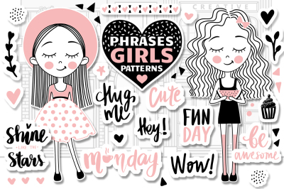 Cute Girls. Positive phrases. Patterns
