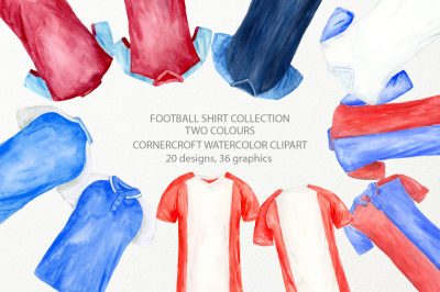 Watercolor football shirts in 2 colors